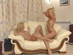 Young blonde lesbians lick... porn video