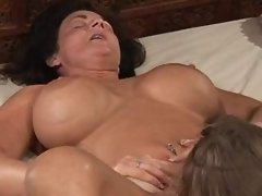 Chick licks pussy of mature... porn video
