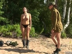 Military babe trained nude... porn video