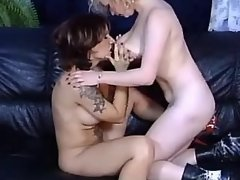 Chesty lesbian dildos juicy... porn video